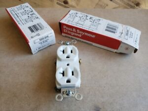 8 PASS&SEYMOUR 125V 20a DUPLEX RECEPTACLES WHITE NEW IN BOX