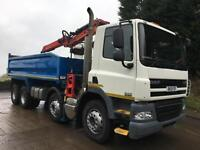2013 13 DAFCF 85.360 8x4 steel tipper Epsilon E125l crane and grab