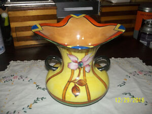 trico china vase with carnival glass