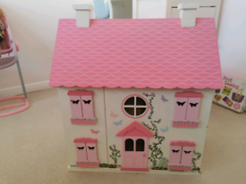 Wooden dolls house plus furniture & accessories