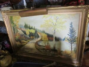 Large G. Marsh oil painting with light