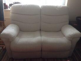 DFS 2 seater recliner sofa Fabric. Cream.