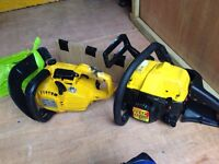 Two petrol chainsaws spares repair £65 no offers