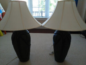 Set of 2 table lamps with recently updated shades - $40.00 set!!