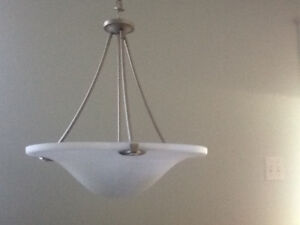 Pendant dining light in brushed nickel with alabaster shade