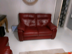 Leather burgandy/red suite