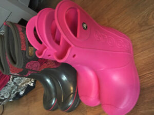 Girls size 1 Bogs winter boots and Crocs size 1 rain boots