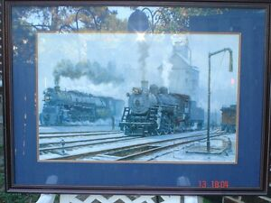 FOR SALE!  Two Steam Engines and Old Caboose Print