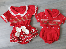 Brother and sister matching smocked sets