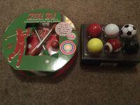 Crazy desk golf + Novelty unused golf balls