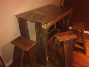 Antique barnwood table and barn stools
