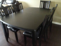 Dining table set, a single big table, iron bed frame.