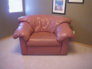Pink all Leather Accent Chair