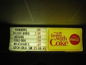 COCA COLA MENU BOARD  THINGS GO BETTER WITH COKE
