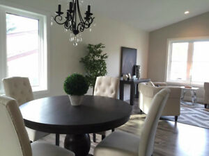 Brayden Studio Dining Table w/Four Brittany Tufted Parsons Chair