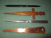 4 vintage letter openers ( ONE IS A PEN )