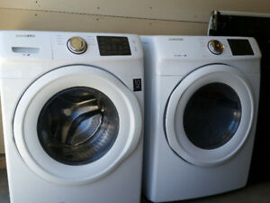 2014 front loader washer and dryer. White. Samsung