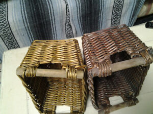 TWO SMALLER WICKER BASKETS FOR STORAGE