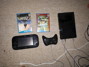 Wii U with games and pro controller