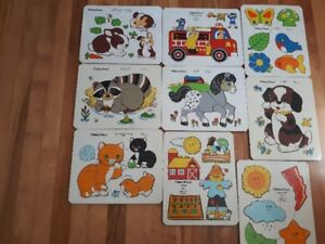 Selection of Vintage Fisher Price Wooden Puzzles