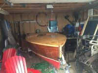 Cedar strip boat with motor and trailer