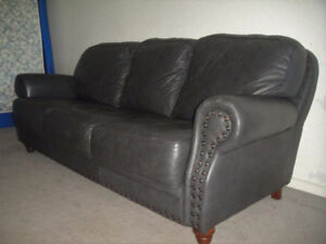 High End Dark Gray Leather Couch And Loveseat, Can Deliver