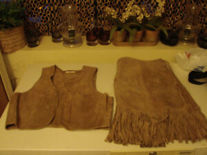 2PC Genuine Suede Leather Outfit