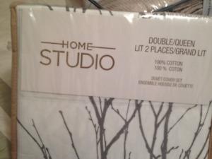 HOME STUDIO DOUBLE/QUEEN DUVET COVER SET +2 Shams