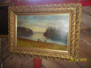 Large Painting on Canvas with Large Frame by Artist Unknown