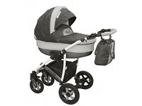 Baby Pram Stroller buggy Pushchair travel System 3in1 Colour gray