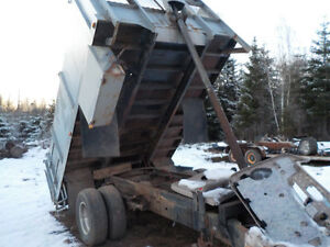 Steel 7.5' wide x12' long x 3' high  dump box with 3 stage hoist