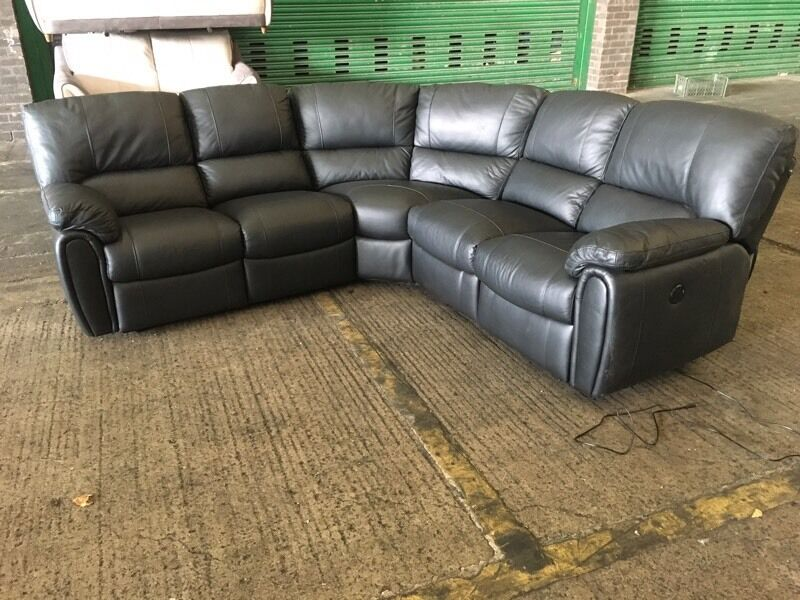 Designer Pure Black Leather Electric Power Recliner Curved