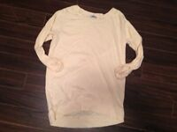 New pale yellow Aritzia TNA Del Mar long sleeve tee