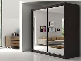 --70% OFFER--GUARANTEED CHEAPEST PRICE-- BRAND NEW BERLIN 2 DOOR SLIDING WARDROBE WITH FULL MIRROR