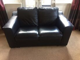 Violino Black Leather 2 Seater Sofa & Red Leather Chair
