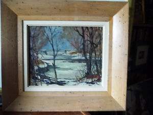 """Original Oil Painting, H. Oswald Stacey  OCA """"January Thaw"""" 1945 Stratford Kitchener Area image 10"""
