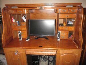 Roll top desk and filing cabinet