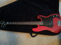 4 string Samick Bass Guitar with Case and strap