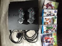 PS3 Console With 2 X Controllers & 5 Games