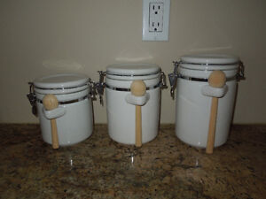 3-Piece Ceramic Canister Set with Clamp Top Lid and Wood Spoons