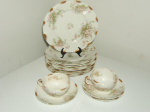 Limoges tea cup and plate set of 13 pieces