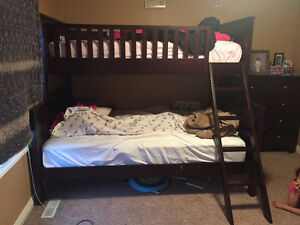 Twin over Double wood bunk bed with dresser and mattresses