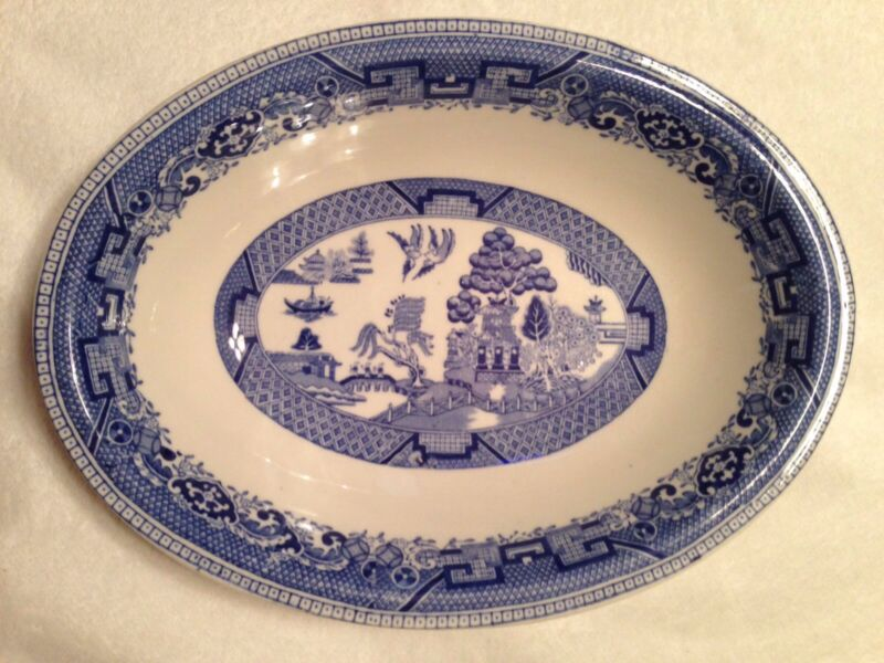 Antique BUFFALO CHINA Blue Willow Oval Serving Dish Bowl Made In USA