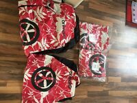 Animal Car Seat Covers 3 x Double, 1 x single & red & white Lino