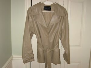 ladies beige pleather jacket - lined -size 12-14 Peterborough Peterborough Area image 1