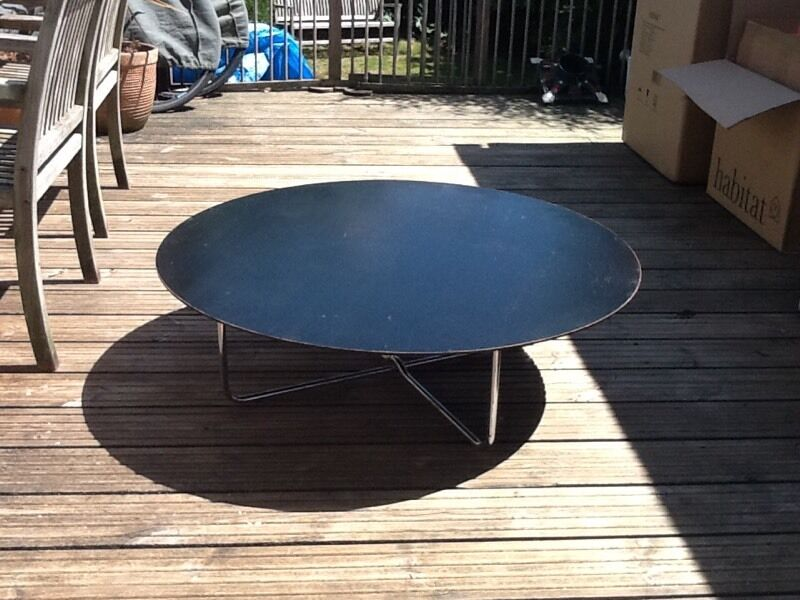 Vintage Habitat Round Black Wooden Coffee Table With Chrome Legs