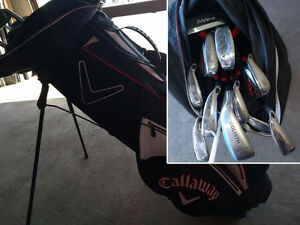 Full set of lefty Callaway Razr X HL irons and bag, plus extras.