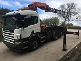 2004 Scania P114 380 6x2 rear lift unit, Palfinger PK 56001 remote control crane