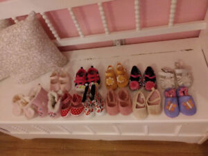 12 pairs of baby girl shoes. Sizes 3-12 months. All like new.