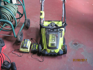 rechargable roybi lawn mower and weed trimmer